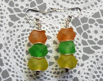 Peach, Yellow and Green Pastel Earrings (2515)
