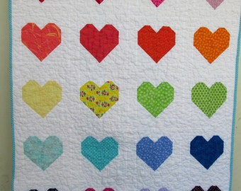 Modern Baby Girl Quilt, Sweet Little Rainbow Heart Crib Quilt  by Dream Vintage Sheets
