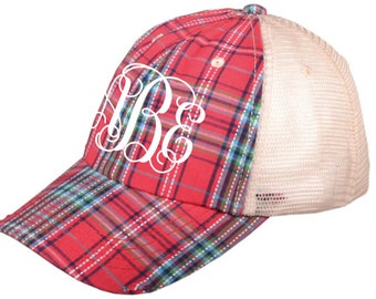 Monogram Plaid Trucker Hat - Monogram Distressed Plaid Trucker Hat - Monogram Raggy Trucker Hat