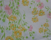 Cannon Monticello vintage twin flat and standard pillowcase floral pink yellow blue green flowers green leaves chicory flowers and more
