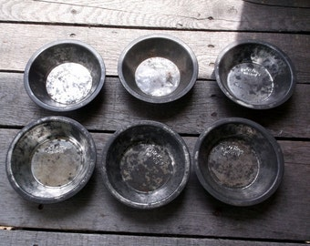 "Vintage lot of 6 Bake-King Miniature Pie Pans Number 1105 5"" x 1 1/4"" Great for display or use"