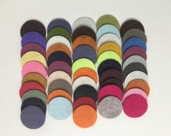 Wool Felt Circles 50 - 1 inch Random Colored. 3453