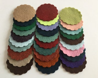 Wool Felt Scallops 30 1 3/4inch in Random Colored 3326 - scallop die cuts - headband supplies - scallop circle die cut