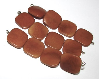 Four Amber Tagua Nut Beads, Flat Square Beads, 21mm Beads, Natural Beads, Organic Beads, Vegetable Ivory Beads, EcoBeads