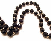 Vintage Costume Jewelry Jetted Black Glass Choker 10K Gold Necklace