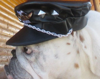 Harley Davidson Patches English Bulldog Hat, Motorcycle Leathers for Dogs,fully lined, Customizable, Faux black Leather,dog hat, Biker cap