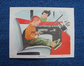 Vintage 1965 Safety In The Car Educational Teaching Poster David C. Cook Publishing Co.