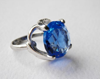 Blue Glass Ring, Modernist Abstract Ring, Size 5 Ring, Sterling Silver, Vintage Modern, Blue Stone, 925, Vintage Ring, Vintage Silver