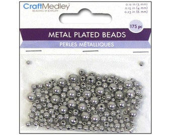 Metal Spacer Beads MultiCraft 3mm 4mm 6mm Silver Round Shiny Metal Spacer Bead