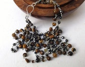 Double strand necklace, tiger iron necklace, hematite necklace, black and brown, sterling silver, wear everyday, something special, modern