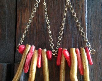 Funky Earrings Boho earrings Bohemian earrings Long dangle earrings Chandelier earrings red and gold coral earrings