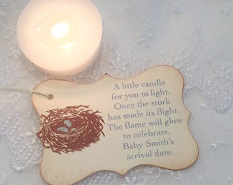 Candle Favor Tags Baby Shower Bird Nest Blue Eggs Once the Stork has made its Flight