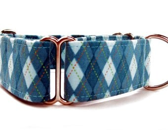 Blue Argyle Martingale Dog Collar Extra Wide Dog Collar 1.5 Inch Width Nickel Plate Hardware