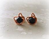 Black Cat Stud Earrings, Copper Post Earrings, Halloween Earrings, Black Onyx Studs, Cat Jewelry, Black Cat Earrings, Copper Stud Earrings