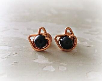 Black Cat Stud Earrings, Copper Wire Wrapped Posts, Halloween Earrings, Black Onyx Studs, Kitty Cat, Black Cat Earrings,Copper Stud Earrings