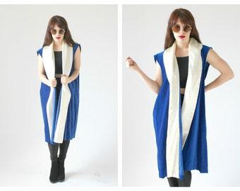 Blue Velvet Duster Opera Vest- 1950s White Satin Collar, Tunic Long Mens Unisex Electric Blue M L  Fashionista, Fabulous