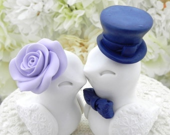 Love Birds Wedding Cake Topper, White, Lilac and Navy Blue, Bride and Groom Keepsake, Fully Customizable