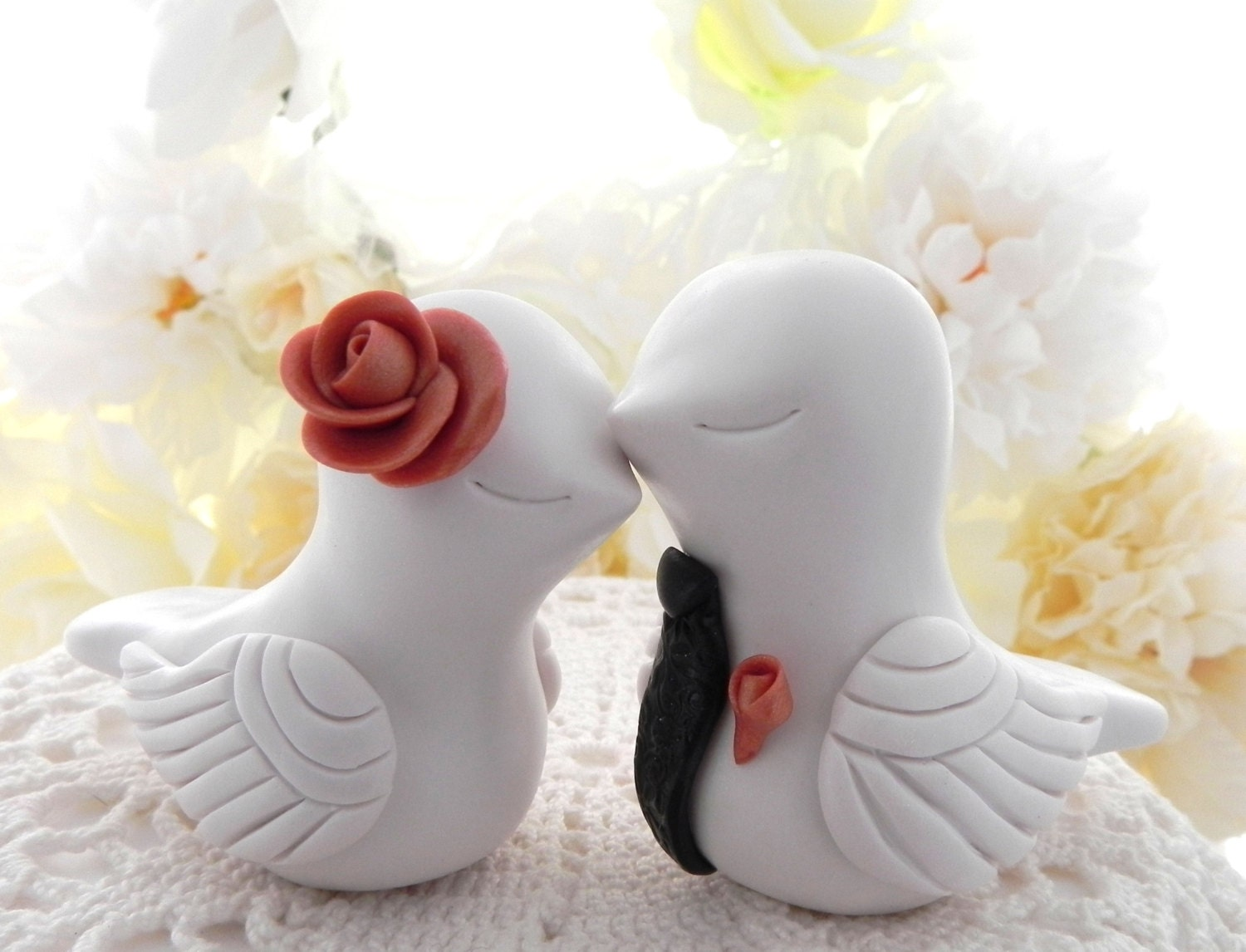 Elegant Wedding Cake Topper Love Birds Ivory Rose Gold and