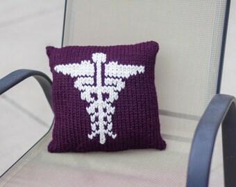 Knit Caduceus Pillow- Purple