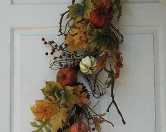Fall Swag, Autumn Pumpkin Swag, Fall Wall Decor, Fall Wall Hanging, Front Door Wreath, Fall Wreath