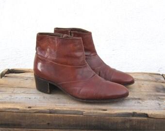 70s Cognac Ankle Chelsea Beetle Boots Mens 6.5, Ladies 8