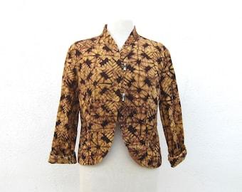 SALE Batik Ethnic Jacket Blazer Tie Dye Natural Cotton Ladies Size M
