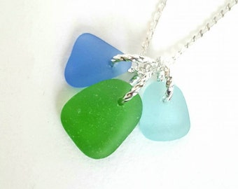 GENUINE Seaglass Necklace, Seaglass Jewelry, Sea Glass Necklace Trio Blues And Green, Beach Necklace, Beach Glass Necklace, Ocean Necklace