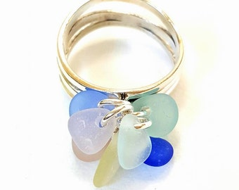 GENUINE Sea Glass Ring Pastel Sea Glass Sterling Silver, Beach Ring, Beach Glass Ring, Seaglass Ring, Eco Friendly Jewelry Jewellery
