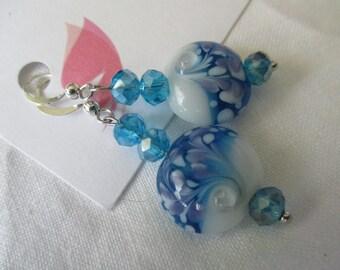 Blue and white, purple lampwork bead pierced earrings