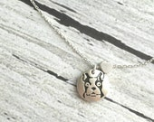 Boston Terrier Necklace - brushed silver black round stamp pendant - heart charm slide - American Gentleman dog love - small delicate chain