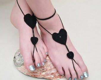 Crochet Barefoot Sandals, Black Heart Barefoot sandles, foot jewelry, beach wedding, Bridesmaid gift, Beach summer shoes, wedding shoes