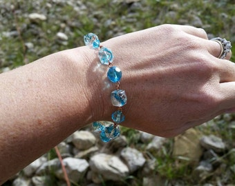 Blue Glass and Copper Chain Link Bracelet - Handmade and Original