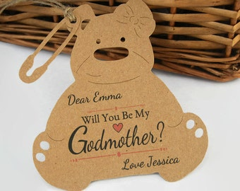 Will You Be My Godmother Teddy bear Tag Personalised