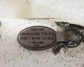 Leather Personalized  Key Holder, Custom Key Ring, Engraved Custom Key Chain, Dad Key Chain, First Man I Ever Loved