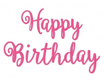 Embroidery Design, Happy Birthday 5x7 //  // Joyful Stitches