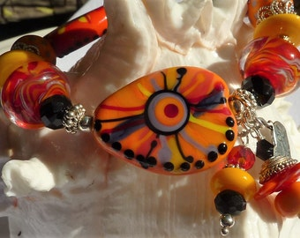 Lampwork Bracelet, HOT TAMALE