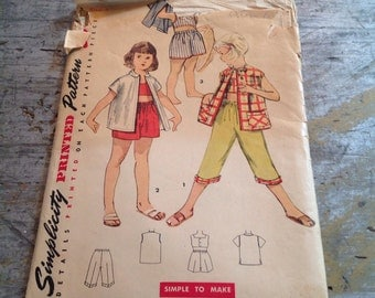 Vintage Simplicity Sewing Pattern 4690 Child's Size 2 Shorts Pedal Pushers Bra Jacket