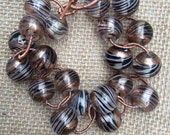 Women's Embellished Glass Bracelet, Double Round Links, Wire Wrapped Copper Rinngs.