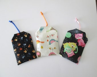 Set of three (3) Tea Bag Catnip Toys/Cat catnip toys/cat toys/kitten toys/kitten catnip toys