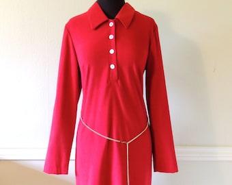 vintage chain-belt dress - 1960s Giorgio Fiorlini red collared minidress