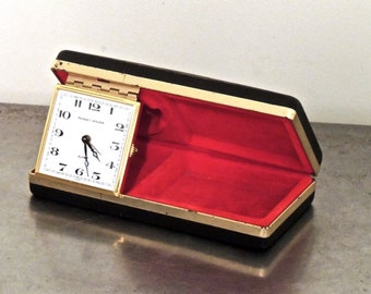 vintage travel clock - 1940s-50s Phinney Walker folding wind-up alarm clock