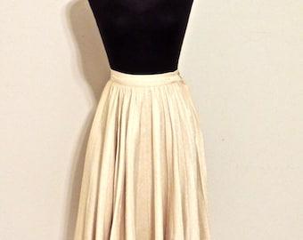 vintage khaki circle skirt - 1950s taupe swingy full skirt