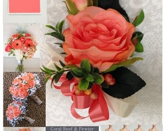 New Artificial Coral Reef Rose Corsage, Coral Rose Mother's Corsage, Coral Corsage, Coral Wedding Flowers