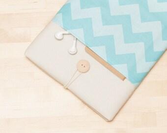 iPad Pro 9.7 case / iPad sleeve / iPad Pro cover / ipad air case /  padded  - chevron in blue -