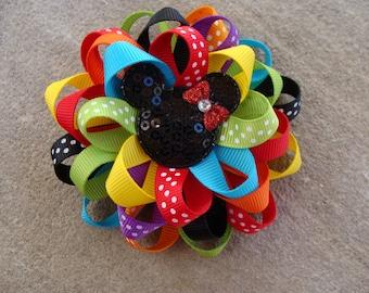 Disney Hair Bow Mickey Mouse Hair Bow Minnie Mouse Hair Bow Loopy Flower Hair Bow rainbow hairbow