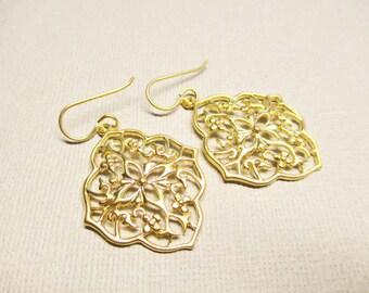 Gold Diamond Shape Filigree Earrings, Bridesmaid Earrings, Gold Dangle and Drop Earrings