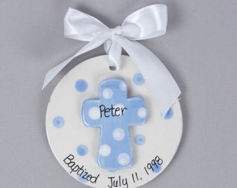 Boy Christening gift, Baptismal ornament, Dedication gift, God Parent gift, baptism cross, baptism gift