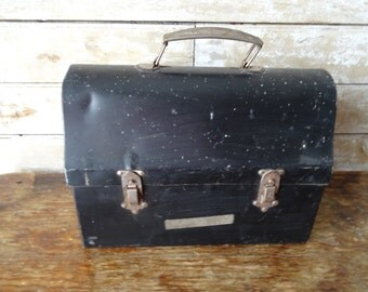 Vintage Black Lunch Pail or Lunch Box Black