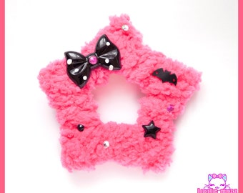 Hot Pink Creepy Cute Two-Way Fuzzy Star Hair Clip/Brooch