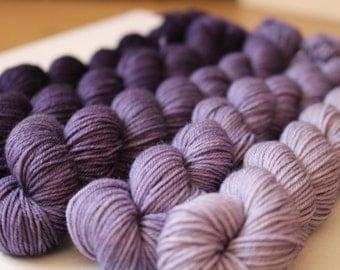 Gradient Kit - Hand Dyed Yarn - Grape Juice - Purple Gradient